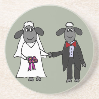 Funny Sheep Wedding Cartoon Coaster
