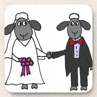 Funny Sheep Wedding Cartoon Coasters