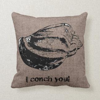 Funny Shel Burlap Shell Beach Bum Back Indoor Pill Throw Pillow
