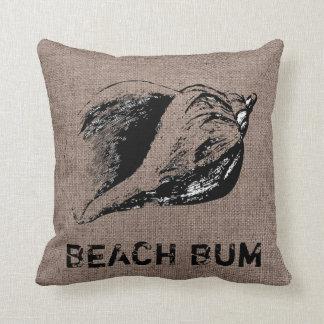 Funny Shell Conch Burlap Beach Bum Indoor Pillow