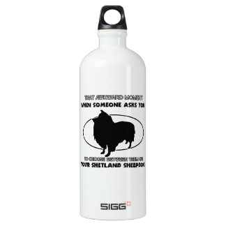 Funny shetland sheepdog designs water bottle