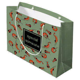 Funny shrimp custom gift bag