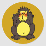 Funny shy gorilla round stickers