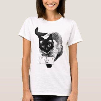 "Funny Siamese Cat Holding, ""I Love You"" Sign T-Shirt"