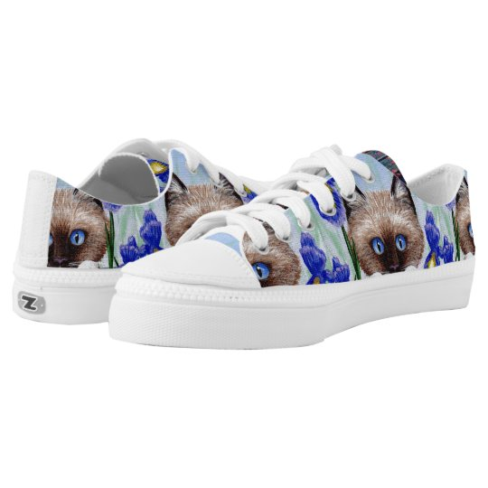 Funny Siamese Ragdoll Cat Purple Iris Low Tops