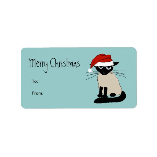 Funny Siamese Santa Claws Christmas Address Label