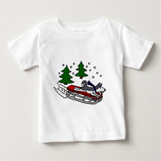 Funny Siberian Husky Dog Riding on Sled Baby T-Shirt