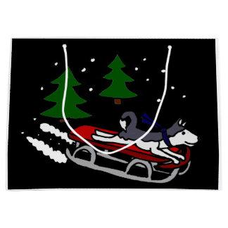 Funny Siberian Husky Sledding Large Gift Bag