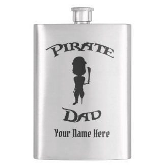 Funny Silhouette Pirate Dad w/ Your Name Hip Flask