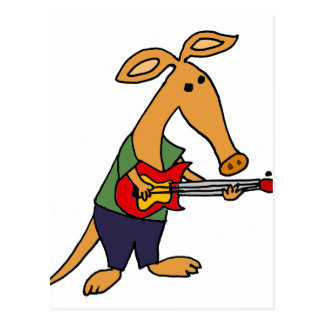 Funny Silly Aardvark Playing Electric Guitar Postcard