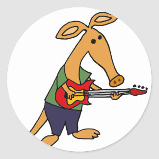 Funny Silly Aardvark Playing Electric Guitar Round Sticker