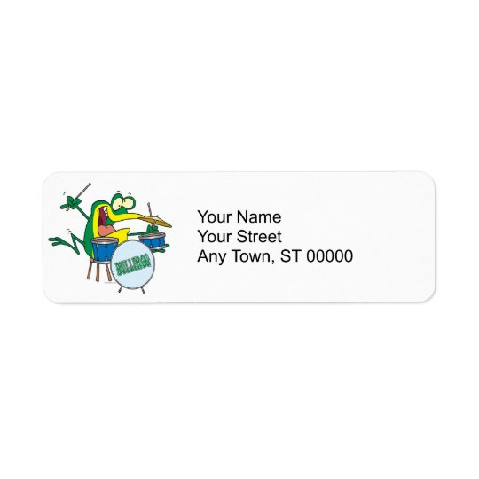 funny silly cartoon frog drummer cartoon return address label