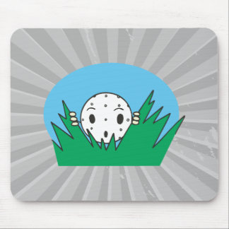 funny silly cartoon golfball hiding in bushes mouse pad