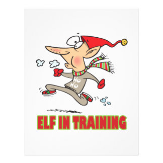 funny silly santa elf in training jogging cartoon flyer