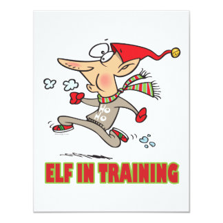 funny silly santa elf in training jogging cartoon 11 cm x 14 cm invitation card
