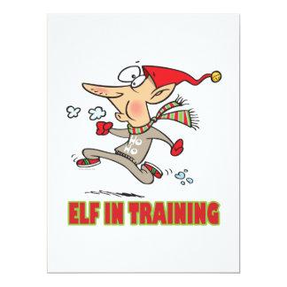 funny silly santa elf in training jogging cartoon 17 cm x 22 cm invitation card