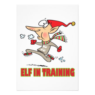 funny silly santa elf in training jogging cartoon personalized invite