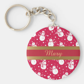 Funny similing  snowmans wearing hat and scarf basic round button key ring