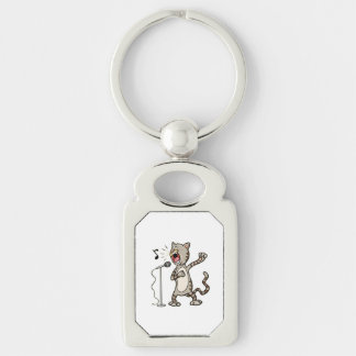 Funny Singing Cat Rectangle KeyChain / White