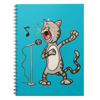 Funny Singing Cat Spiral Note Book / Blue