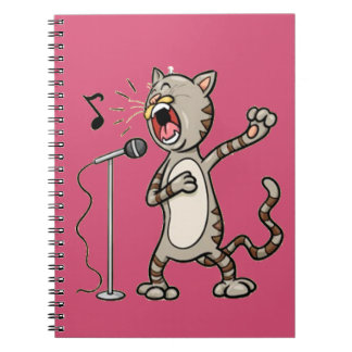 Funny Singing Cat Spiral Note Book  / Pink