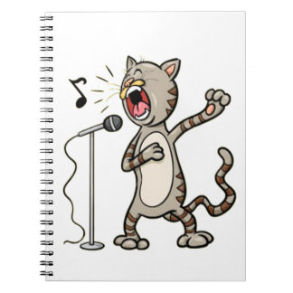 Funny Singing Cat Spiral Note Book  / White
