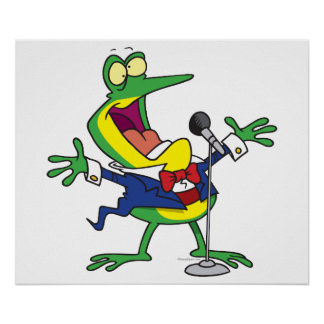 funny singing froggy frog cartoon poster