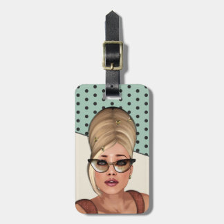 Funny Sixties Beehive Beauty Luggage Tag