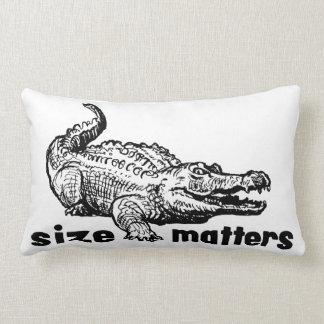 Funny SIZE Matters - Alligator or Crocodile Lumbar Cushion