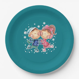 Funny Skating Kids Design Christmas Paper Plates 9 Inch Paper Plate