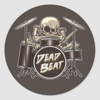 Funny Skeleton Drummer Classic Round Sticker