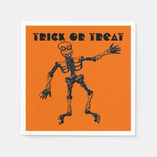 Funny Skeleton Trick or Treat Paper Serviettes