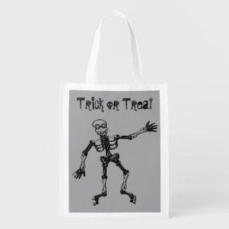Funny Skeleton Trick or Treat Reusable Grocery Bag