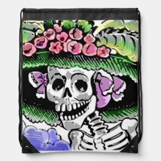 Funny Skeleton with floral hat with flower Drawstring Bag