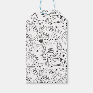 Funny sketchy dancing cats doodle pattern gift tags