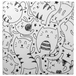 Funny sketchy dancing cats doodles pattern napkin