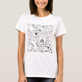 Funny sketchy dancing cats doodles pattern T-Shirt