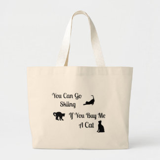 Funny Skiing Cat Jumbo Tote Bags