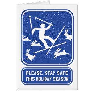 Funny Skiing Holiday Card - Bunny Slope