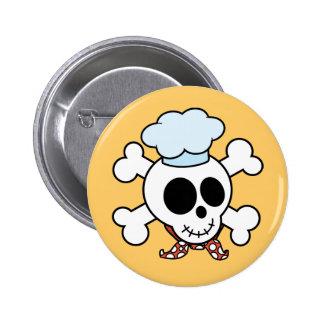 Funny Skull and Crossbones Chef 6 Cm Round Badge