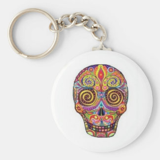 Funny skull basic round button key ring