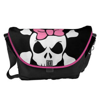 funny skull girly skull courier bag