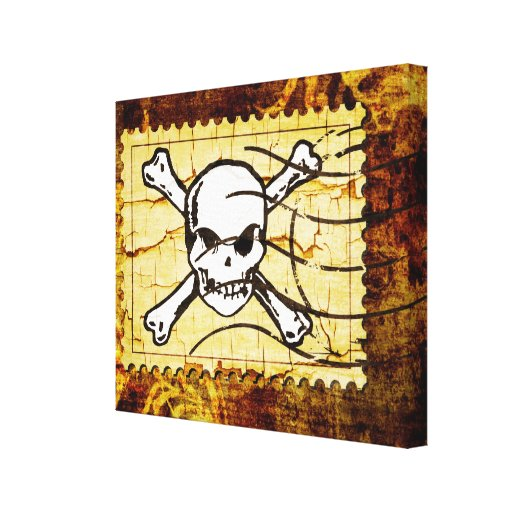 Funny Skull Stamp 2 Gallery Wrapped Canvas
