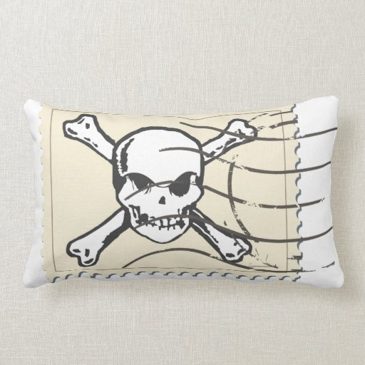 Funny Skull Stamp 5 Throw Pillows