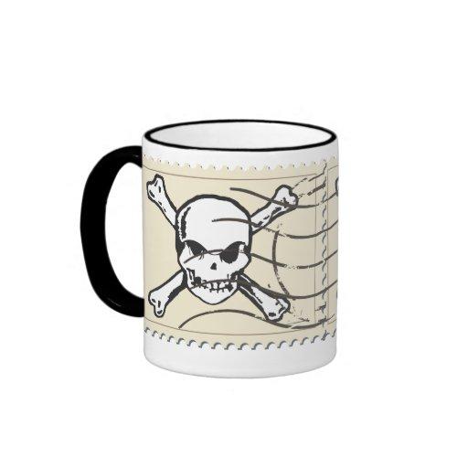 Funny Skull Stamp 5 Coffee Mugs
