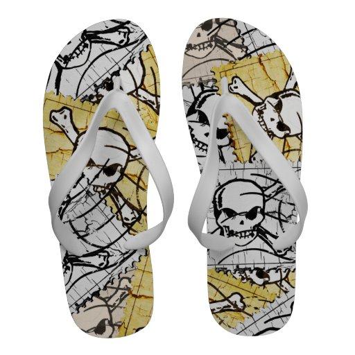Funny Skull Stamp Sandals