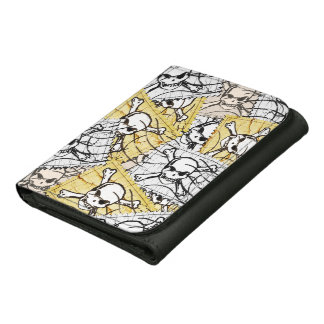 Funny Skull Stamp Leather Wallets
