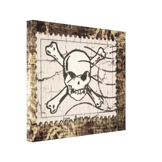 Funny Skull Stamp Vintage 2 Gallery Wrapped Canvas