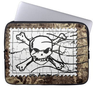 Funny Skull Stamp Vintage 2 Computer Sleeve