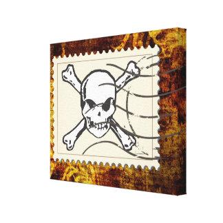Funny Skull Stamp Vintage 3 Stretched Canvas Prints